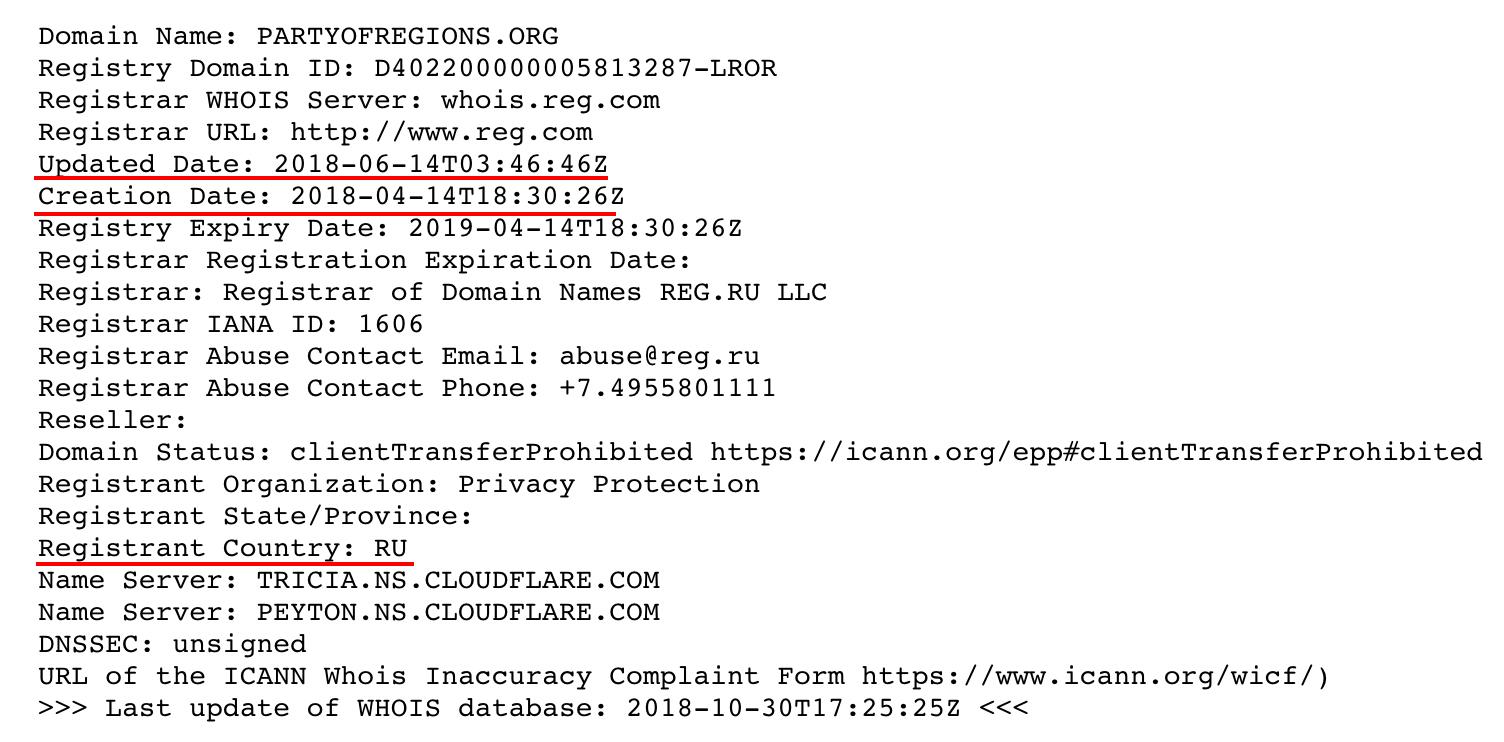 """скрин регистрации домена """"обновленной"""" Партии регионов"""