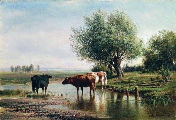 Клодт Михаил Константинович «Пейзаж с коровами»